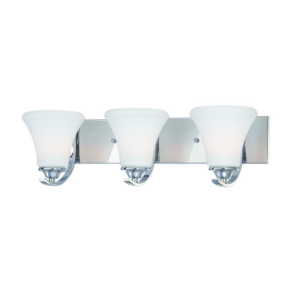 Thomas Lighting Tyler 3-Light Chrome Bath Fixture with Etched Glass Shade-DISCONTINUED