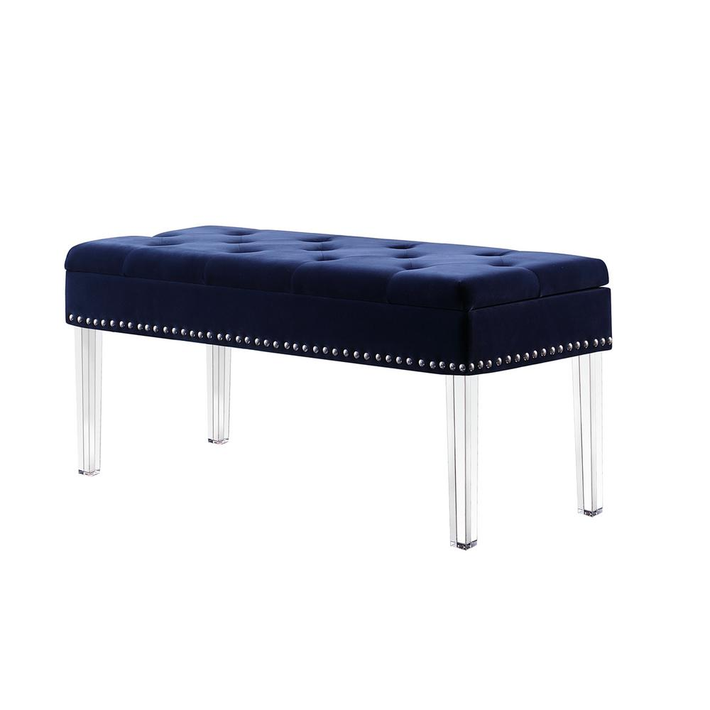 Navy Blue Tufted Mid-Century Storage Bench Nailhead Trim with Acrylic  sc 1 st  Home Depot & Unbranded 18 in. Navy Blue Tufted Mid-Century Storage Bench Nailhead ...