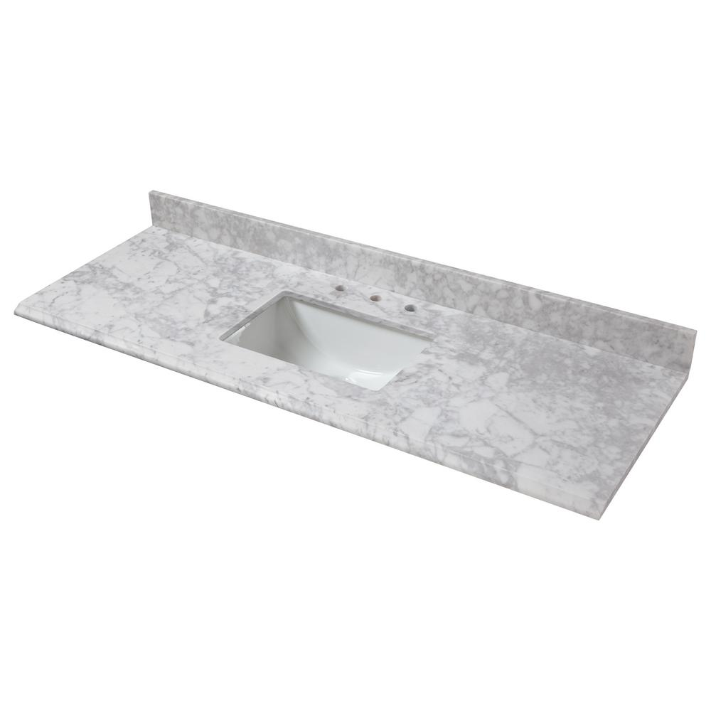 Home Decorators Collection 73 in. W x 22 in. D Marble Single Trough Sink Vanity Top in Carrara