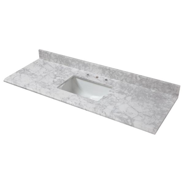 Home Decorators Collection 73 In W X 22 In D Marble Single Trough Sink Vanity Top In Carrara 73108 The Home Depot
