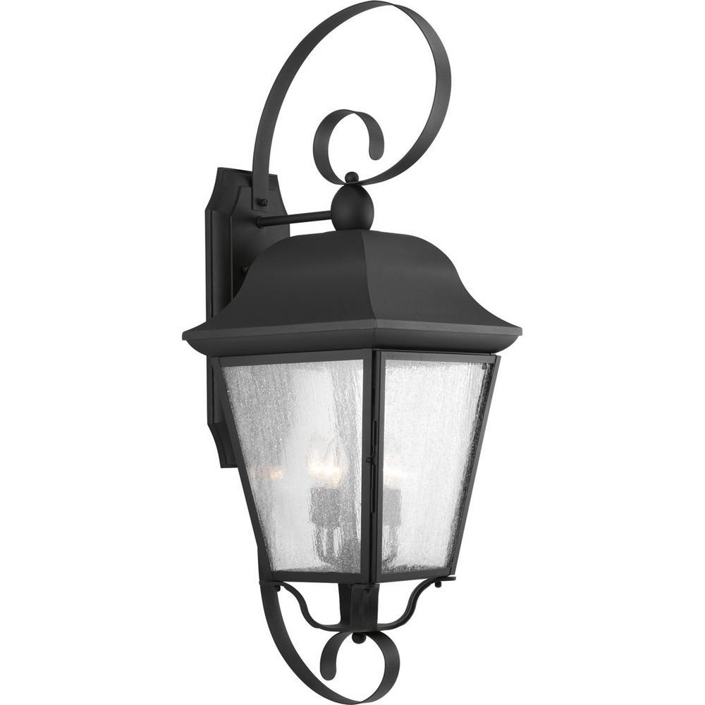 Kiawah Collection 3-Light Outdoor Black Wall Lantern