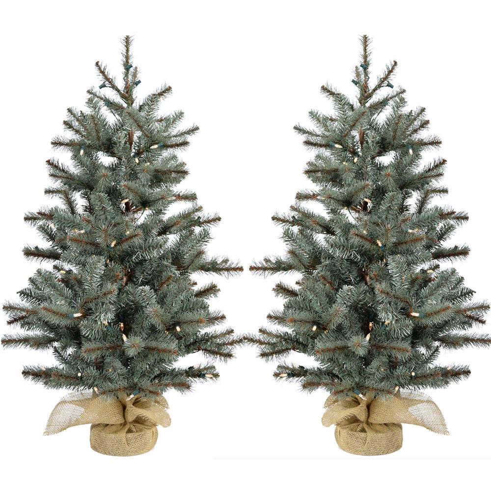df41695aaf9 4 ft. Heritage Pine Artificial Trees with Burlap Bases and Battery-Operated  LED String Lights (Set of 2)