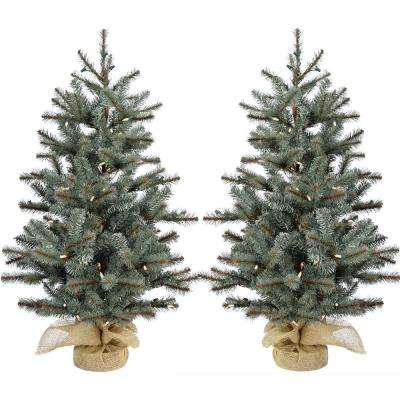 4 ft. Heritage Pine Artificial Trees with Burlap Bases and Battery-Operated LED String Lights (Set of 2)