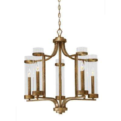 Milan Collection 5-Light Vintage Gold Chandelier with Clear Glass