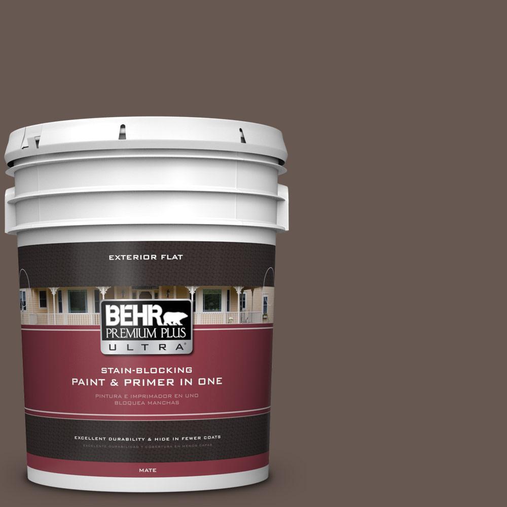 5 gal. #HDC-FL14-10 Pine Cone Brown Flat Exterior Paint
