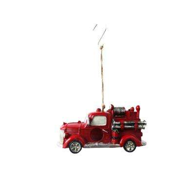 Hanging Fire Truck Bird House Decor