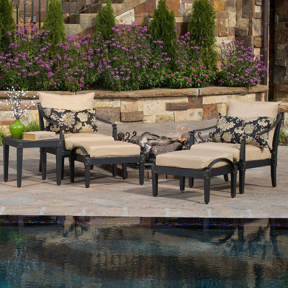 RST Brands Astoria 5 Piece Patio Chat Set With Delano Beige Cushions