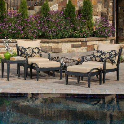 Astoria 5-Piece Patio Chat Set with Delano Beige Cushions