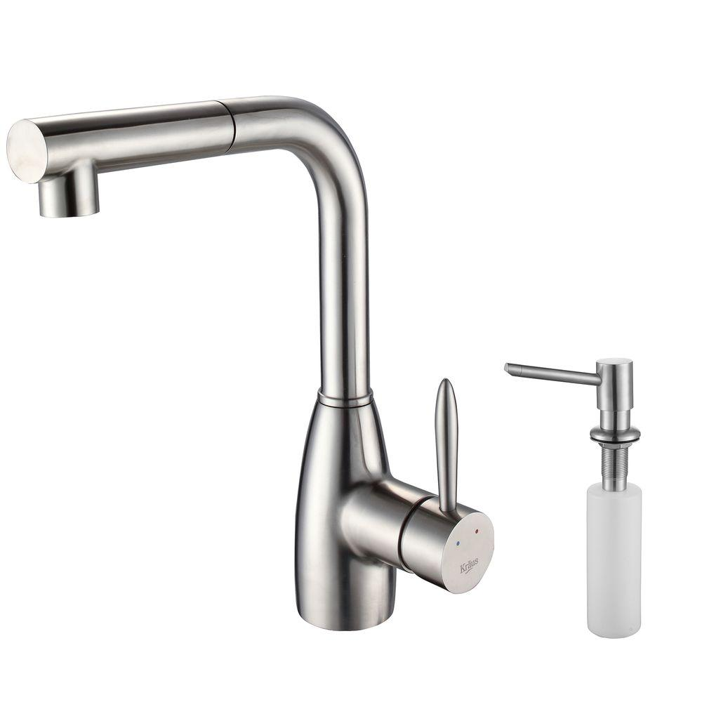 KRAUS Single-Lever Handle Pull Out Sprayer Kitchen Faucet and Soap Dispenser in Stainless Steel