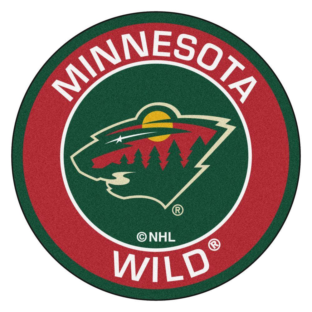 Fanmats nhl minnesota wild red 2 ft x 2 ft round area rug 18875 the home depot - Minnesota wild logo ...