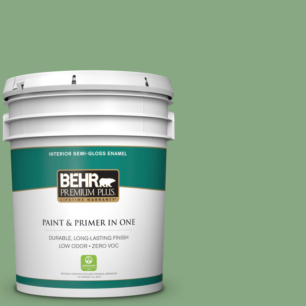BEHR Premium Plus 5-gal. #M400-5 Baby Spinach Semi-Gloss Enamel Interior Paint