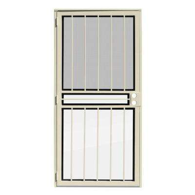 36 in. x 80 in. Paladin Almond Recessed Mount All Season Security Door with Insect Screen and Glass Inserts