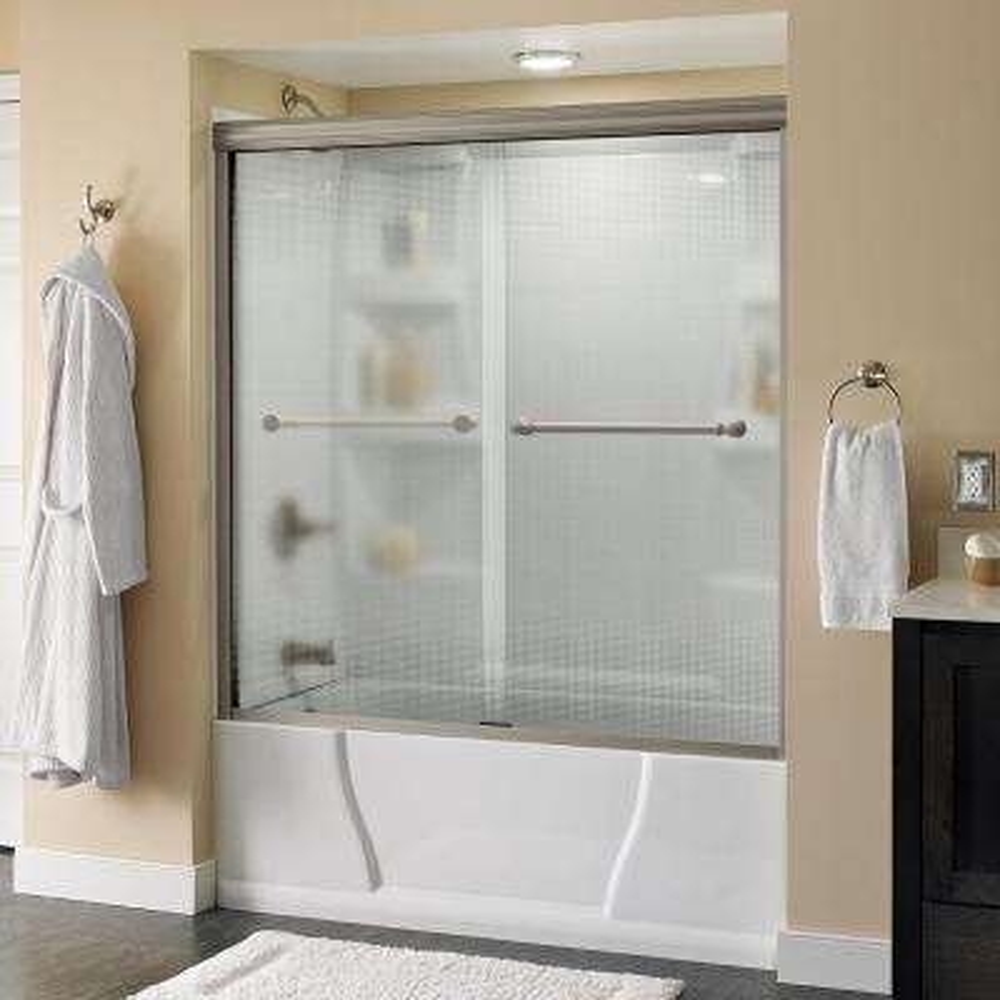 Silverton 60 in. x 58-1/8 in. Semi-Frameless Sliding Bathtub Door in Nickel with Droplet Glass