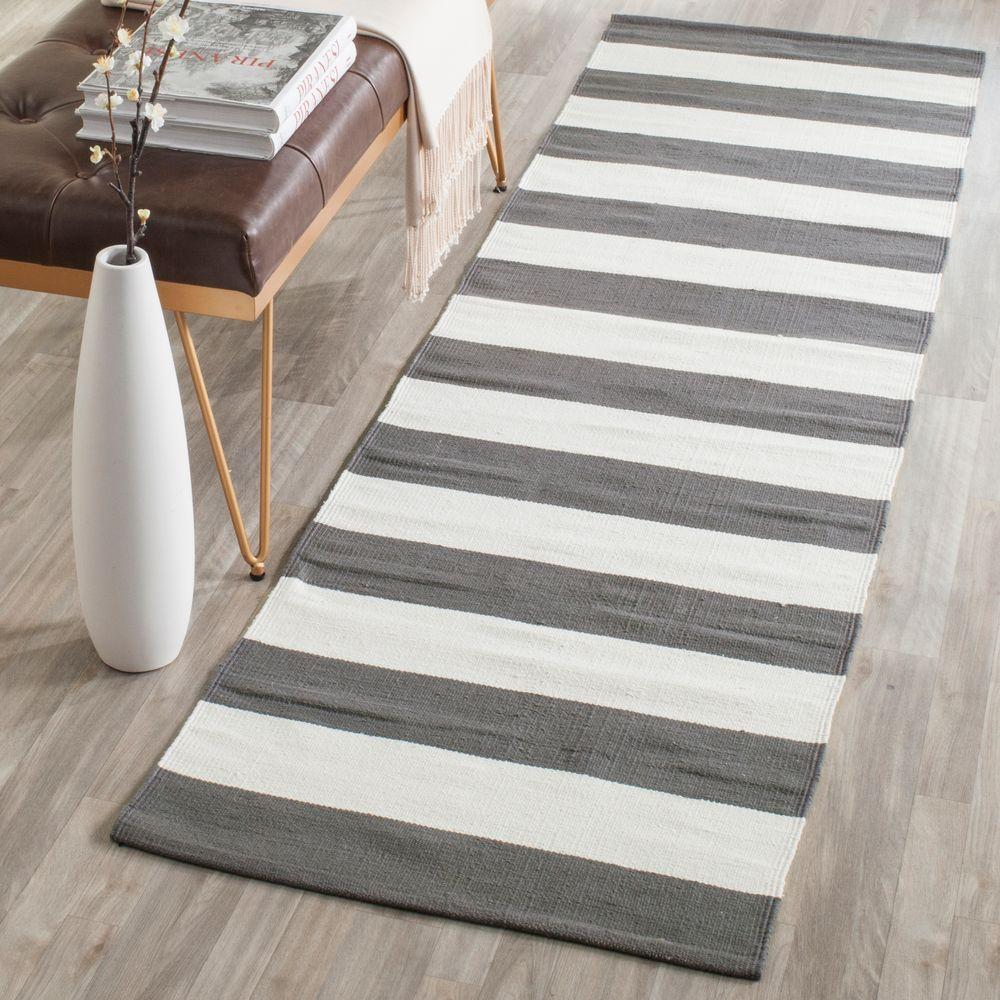Gypsy Stripe Turquoise Grey Woven Cotton Rug: Safavieh Montauk Grey/Ivory 2 Ft. 3 In. X 11 Ft. 7 In