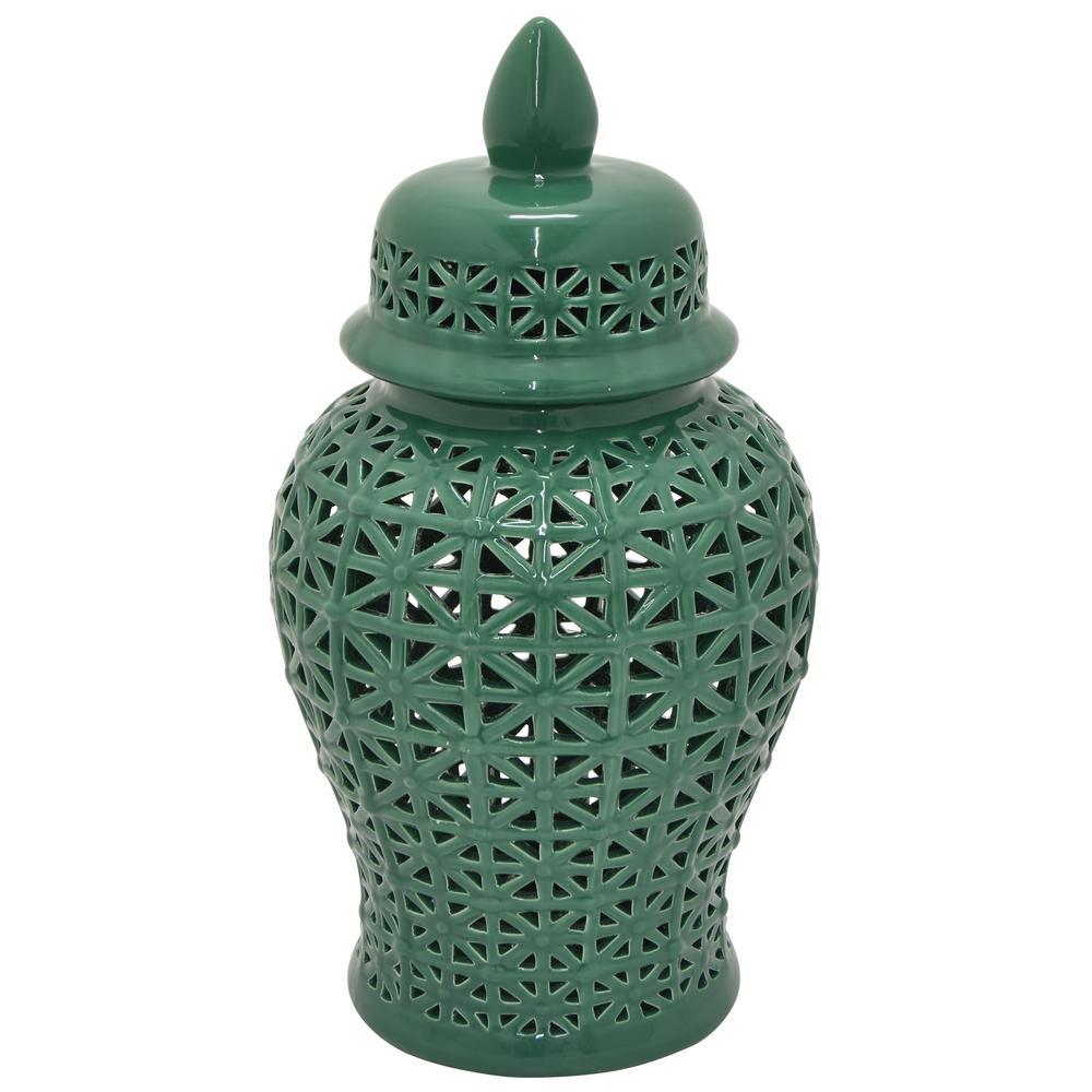 19.5 in. Green Ceramic Table Vase