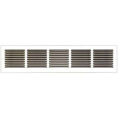 30 in. x 6 in. Base Board Return Air Vent Grille with Fixed Blades, White