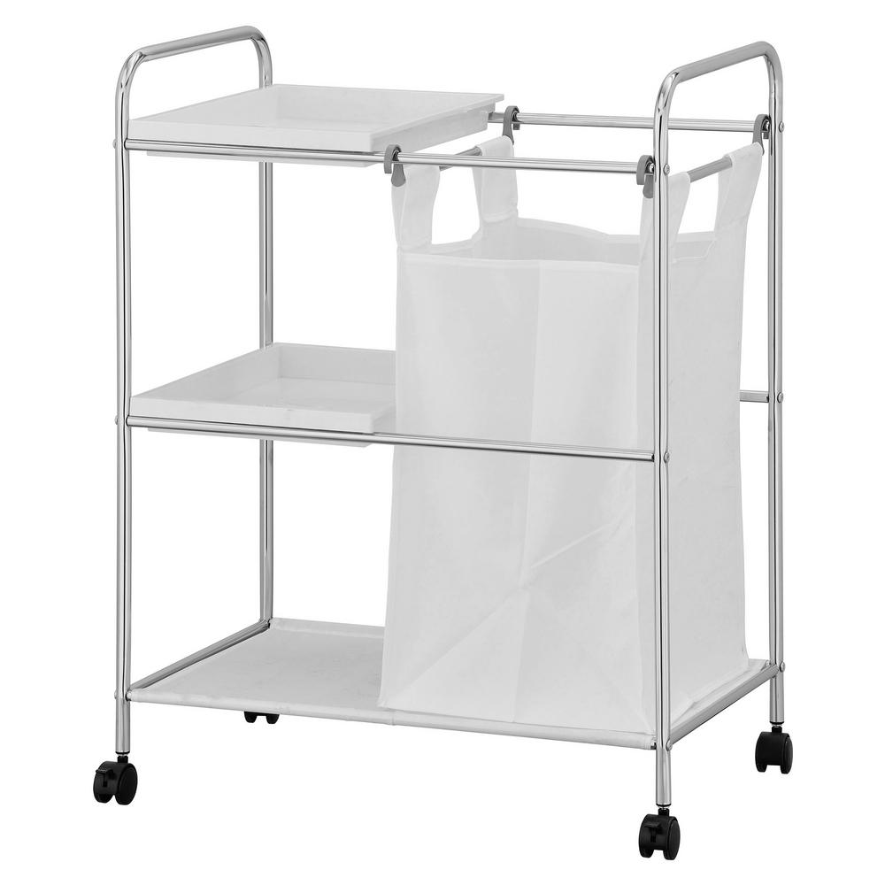Wayar Silver Chrome Laundry Sorter with Trays