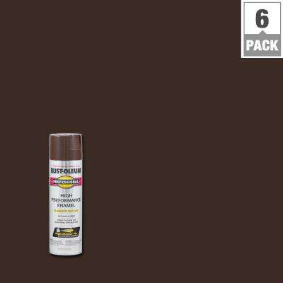 15 oz. High Performance Enamel Gloss Dark Brown Spray Paint (6-Pack)
