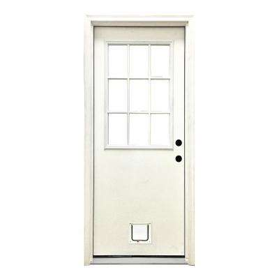 32 in. x 80 in. Classic 9 Lite LHIS White Primed Textured Fiberglass Prehung Front Door with Small Cat Door