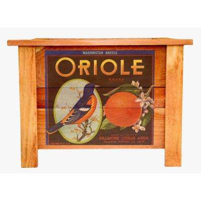 22 in. Cedar Wood Planter Box with Oriole Art