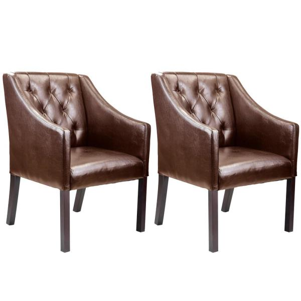 CorLiving Antonio Brown Bonded Leather Accent Club Chair (Set of 2)