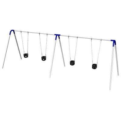 Double Bay Commercial Bipod Swing Set with Tot Seats and Blue Yokes