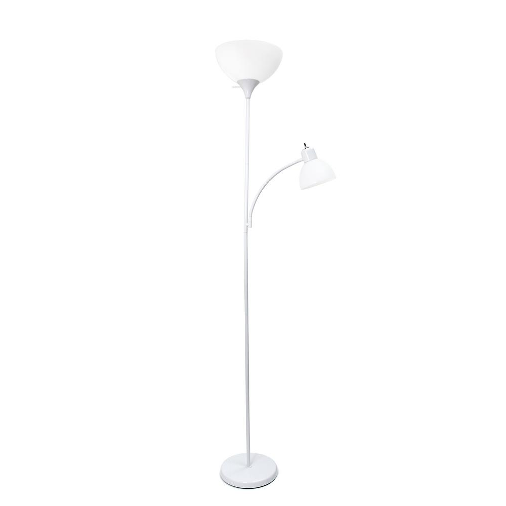 Simple Designs 71 75 In White Floor Lamp With Reading Light Lf2000