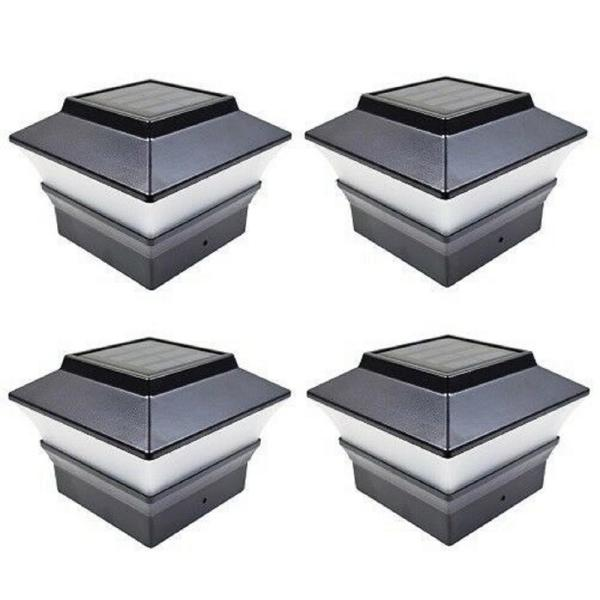 Relightable Solar 4 in. x 4 in. Black Vinyl Outdoor Post Cap Deck Lights (4-Pack)
