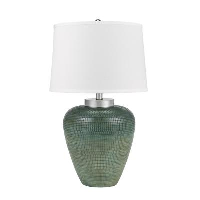 30 in. Blue with Chrome Accents Coastal Rounded Urn Table Lamp