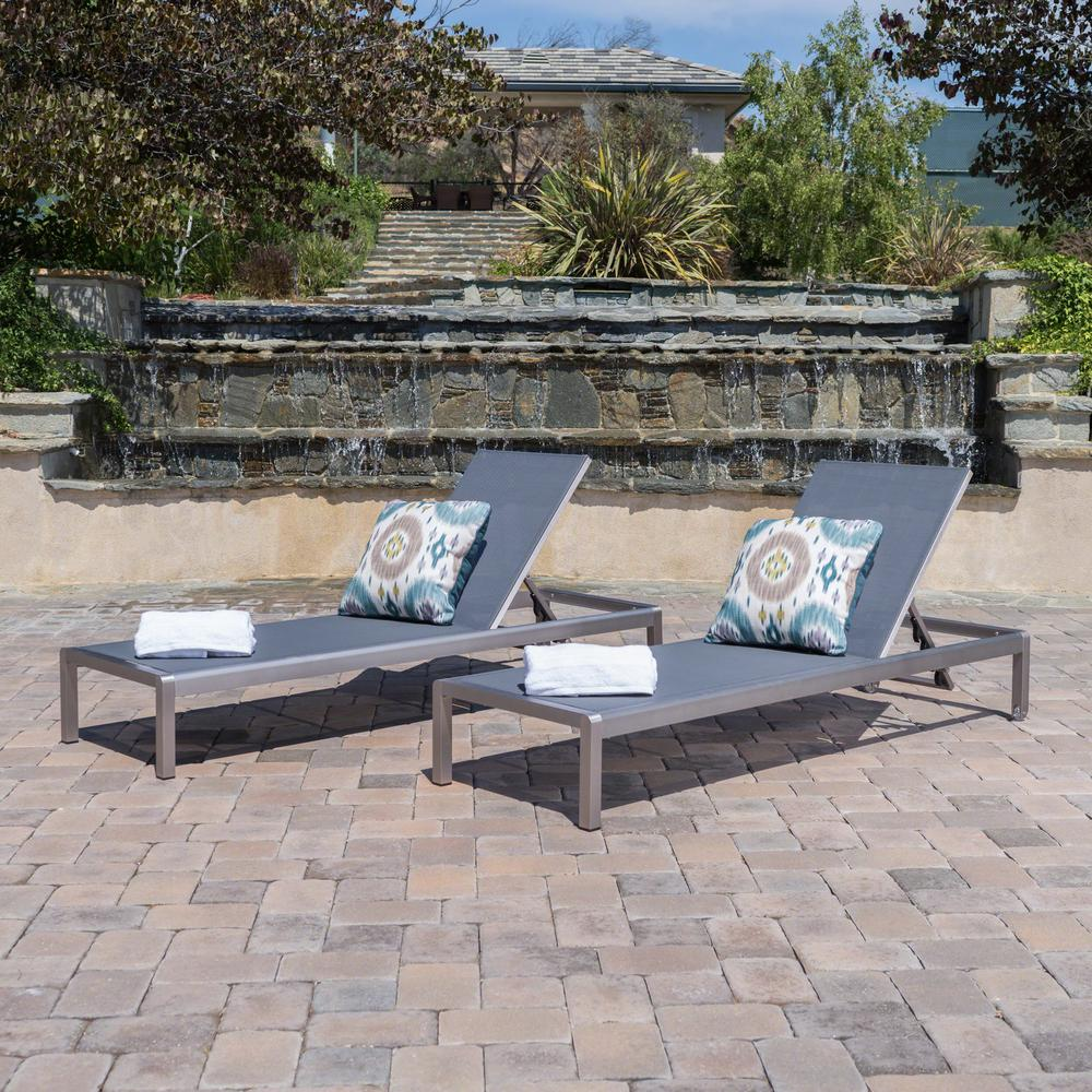 Noble House Cape Coral Silver 2-Piece Metal Outdoor Chaise Lounge