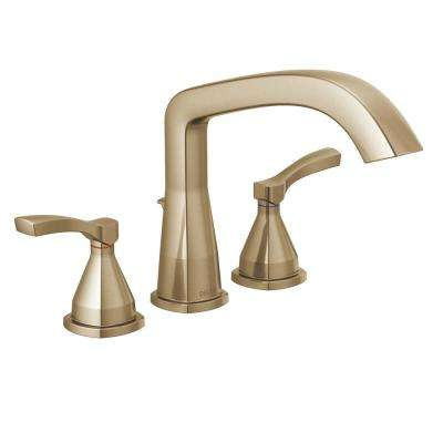 Stryke 2-Handle Deck Mount Roman Tub Faucet Trim Kit in Champagne Bronze (Valve Not Included)