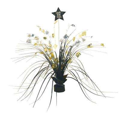 3.5 in. New Year's Foil Spray Centerpiece in Black, Silver and Gold