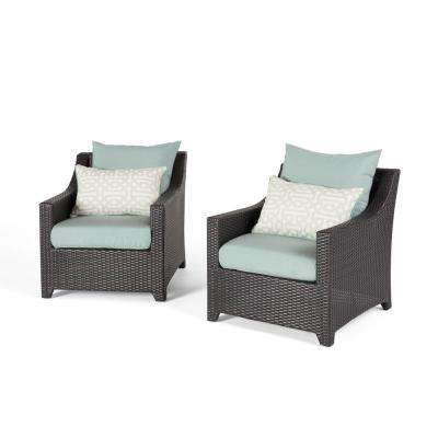 Deco 2-Piece All-Weather Wicker Patio Club Chair Seating Set with Spa Blue Cushions