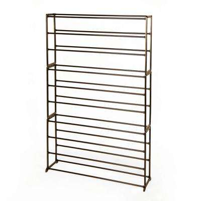 35.5 in. x 54.4 in. 50-Pair Bronze Standing Shoe Rack