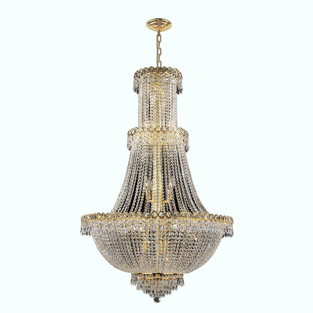 Empire Collection 17-Light Polished Gold and Crystal Chandelier