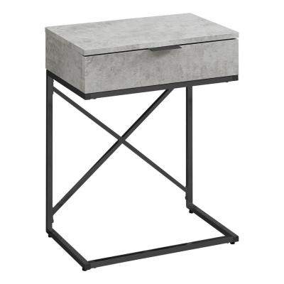 Jasmine 23.5 in. Grey and Black Wood End Table