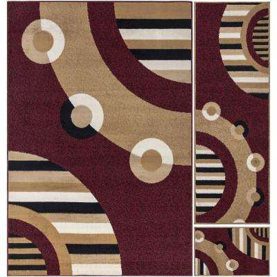 Paterson Collection Contemporary Circles Design Dark Red 5 ft. x 7 ft. 3-Piece Rug Set