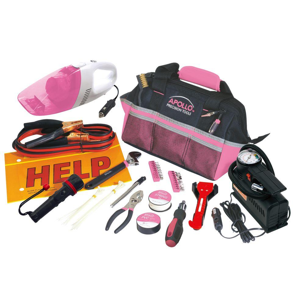 Roadside Tool Kit With Vacuum And Compressor In Pink 54 Piece