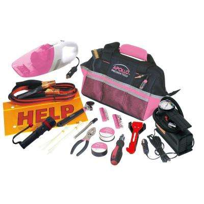 Roadside Tool Kit with Vacuum and Compressor in Pink (54-Piece)
