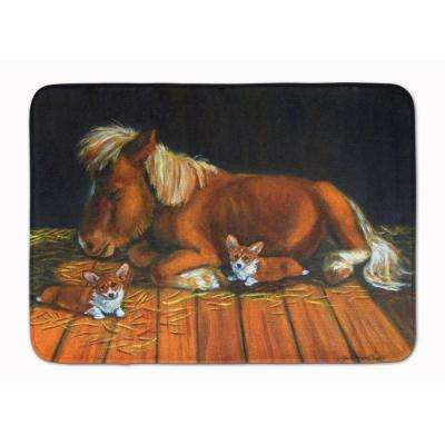 19 in. x 27 in. Corgi Snuggles the Pony Machine Washable Memory Foam Mat