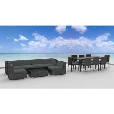 Gray Series 16-Piece Wicker Outdoor Sectional Seating Set with Gray Cushions