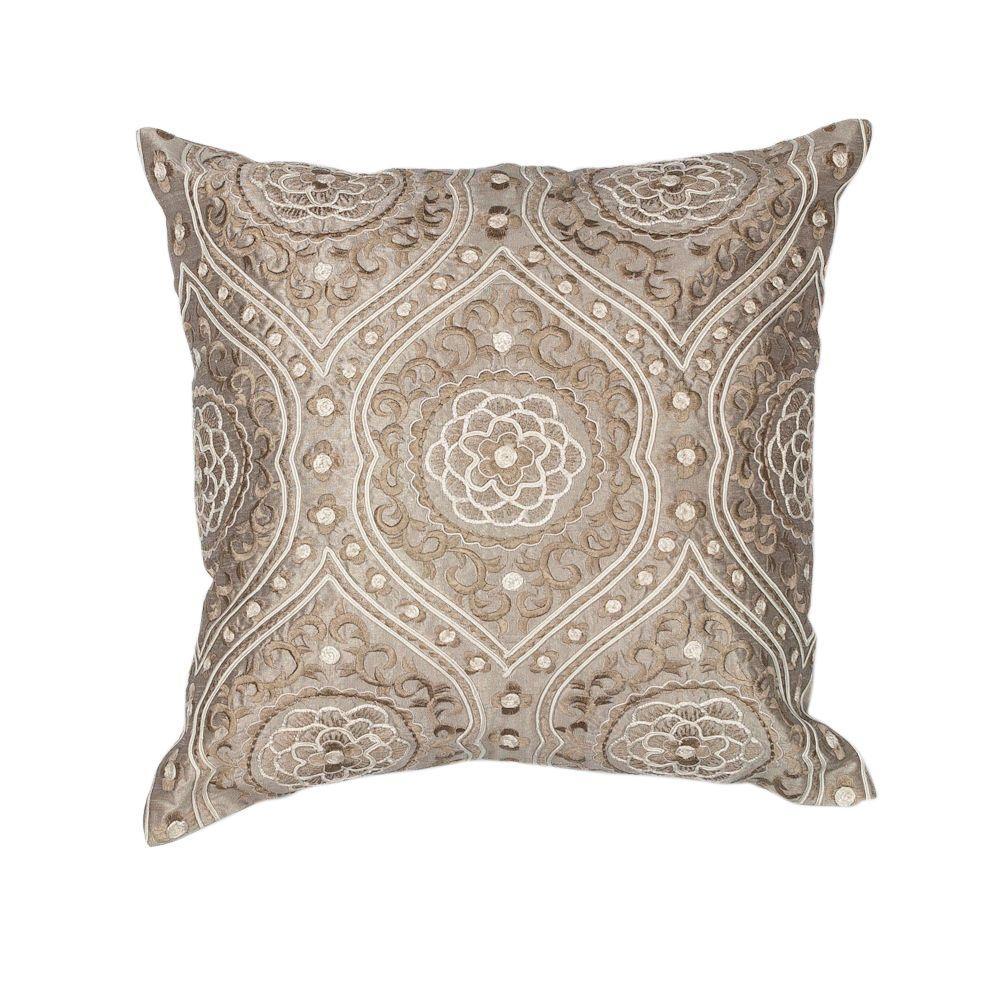 Rosette Silver/Cream Decorative Pillow