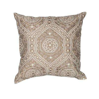 Rosette Silver/Cream Decorative Pillow