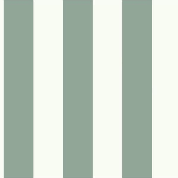 56 sq. ft. Pale Green and White Awning Stripe Removable Wallpaper