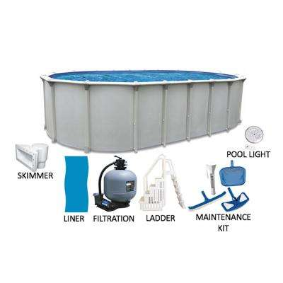 Huntington 18 ft. x 33 ft. Oval 54 in. Deep Buttress Free Hard Sided Above Ground Pool Package with Entry Step System