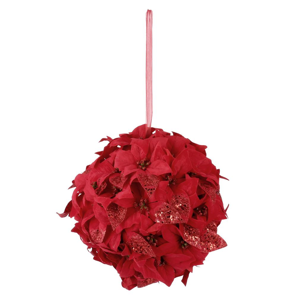 12 in. Velvet Poinsettia Kissing Ball in Red
