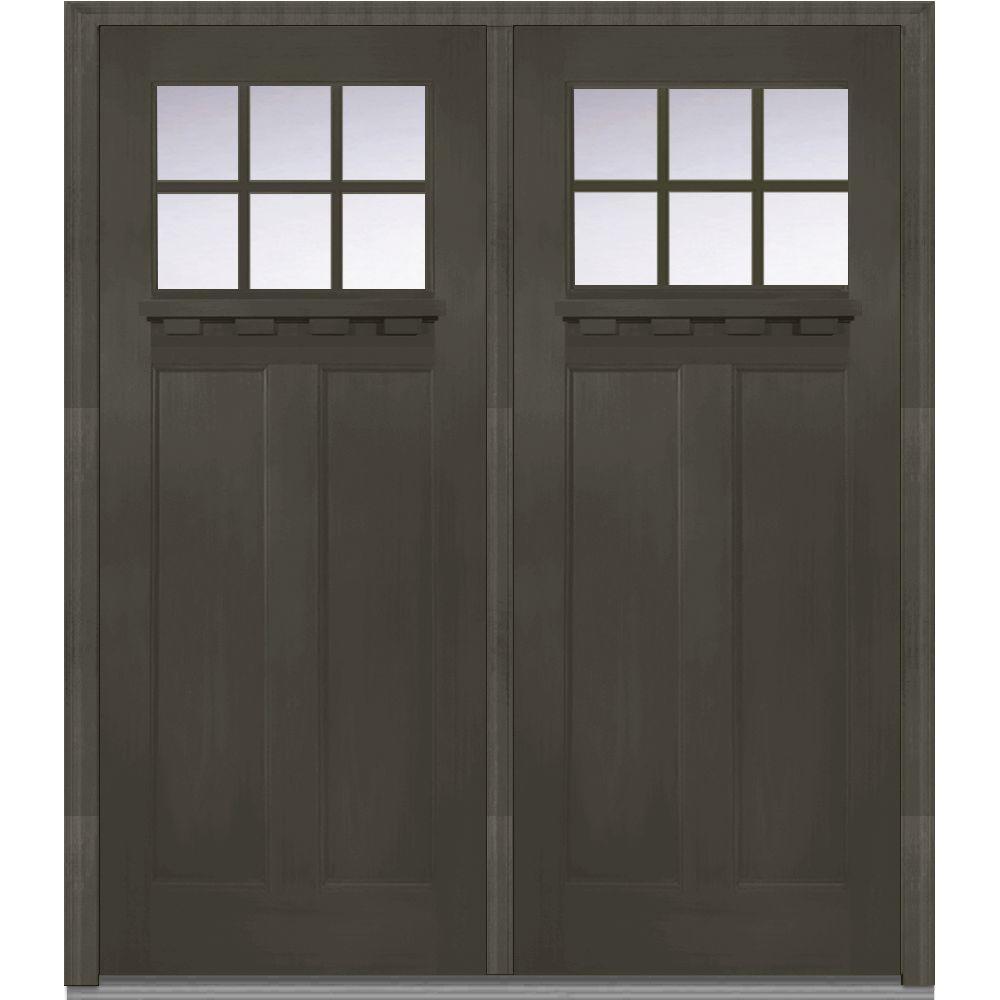 Mmi Door 72 In X 80 In Shaker Left Hand Inswing 6 Lite Clear Low E