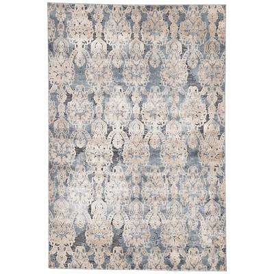 Venice Blue 2 ft. x 3 ft. Damask Rectangle Area Rug
