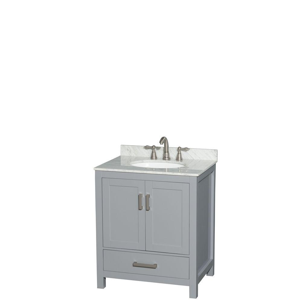 Wyndham collection sheffield 30 in w x 22 in d vanity in gray with marble vanity top in for Gray bathroom vanity with top