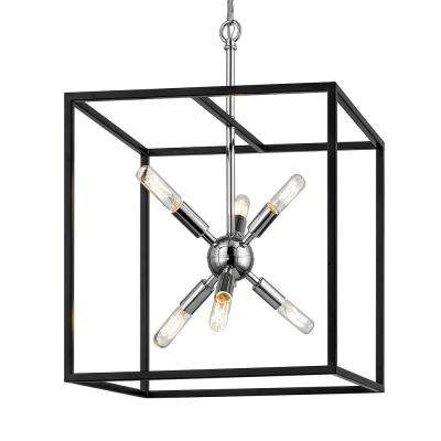 Halley 16 in. 6-Light Matte Black Pendant with Polished Chrome Cluster